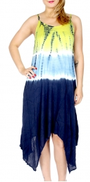 Wholesale G28F Tie dye crinkled asymetric dress Yellow navry