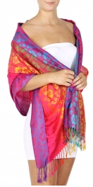 Wholesale D26 Cherry blossom print rainbow Pashmina Red