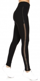 Wholesale Q67 Lattice panel activewear leggings Black
