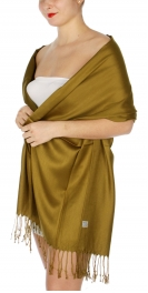 wholesale D36 Solid HD Wedding Pashmina 27 Dark Mustard