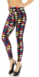 wholesale B16 cotton crepe leggings Houndstooth Mult