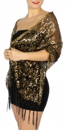 Wholesale I46D Flowers & leaves sequined mesh shawl Black/Gold
