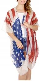 Wholesale H08E Viscose blend American flag ruana Ivory