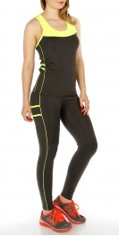 Wholesale I32C Active Contrast Top and Pants BLK/N.CRL