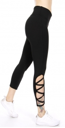 Wholesale C09A Zigzag lace side capri active leggings Black