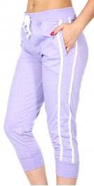 Wholesale C18E Striped French terry capri jogger pants Lavender