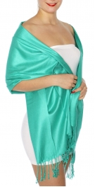 wholesale D45 Silky Solid Wedding Pashmina 48 Jade Green