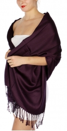 wholesale D36 Solid HD Wedding Pashmina 26 Dark Purple