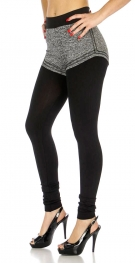 Wholesale C31 Fleece Leggings w/ short pants Black/Gray