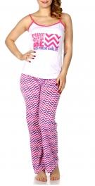 Wholesale Q17-1C  SWEET BABE print PJ tank & pants set Coral