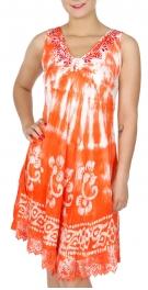 Wholesale K33E Tie dye umbrella dress ORANGE