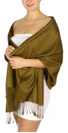 wholesale D01 Silky Light Wedding Pashmina 08 Olive