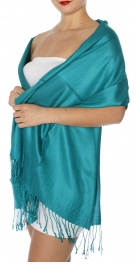 wholesale D45 Silky Solid Wedding Pashmina 13 Teal