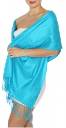 wholesale D45 Silky Solid Wedding Pashmina 34 Turquoise
