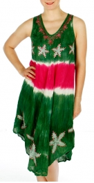 Wholesale G43A Star Sequins V Neck Tie Dye Embroidery Dress Green