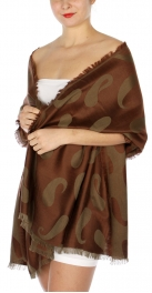 wholesale D34 Reversible baby paisley pashmina Brown