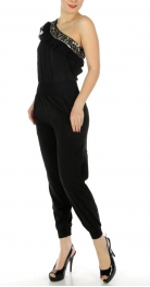 wholesale K20 Toga strap w/ sequin jumpsuit Black