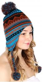 wholesale E12 Neon trapper hat Orange on Royal Blue