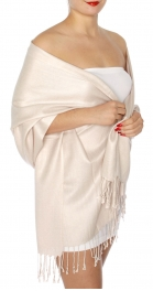 wholesale D45 Silky Solid Wedding Pashmina 55 M Beige