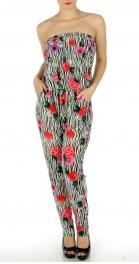wholesale C37 Rose n zebra strapless jumper suit