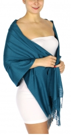 wholesale D01 Silky Light Wedding Pashmina 12 Teal