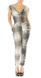 wholesale M15 Pocketed V-neck jumpsuit GY
