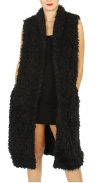 Wholesale M21A Fur long open vest Black