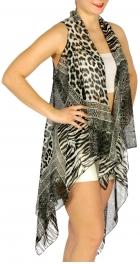 Wholesale H07C Multi animal print vest BK