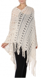 Wholesale S10C Knitted lace long poncho Beige