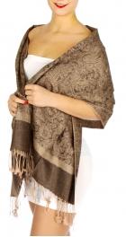 wholesale D33 Whole Jacquard Pashmina 42B Brown