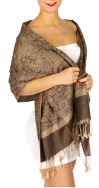 wholesale D33 Whole Jacquard Pashmina 42B Brown