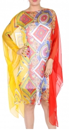 wholesale I00 Chiffon geometric long poncho Yellow/Red