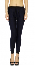 Wholesale B07C Ladies fur lined jogger leggings Navy