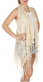 Wholesale J05A Fringe hem high low knit vest Cream