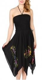 Wholesale N08C Uneven Circle Dye Batik Halter Neck Dress