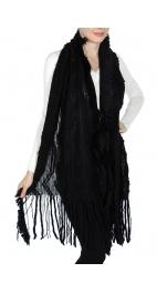 Wholesale P15A Winter Fringe Knitted Shawl BK