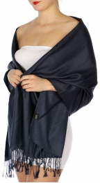 wholesale D45 Silky Solid Wedding Pashmina 05 Navy