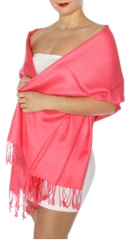 wholesale D45 Silky Solid Wedding Pashmina 17 Coral