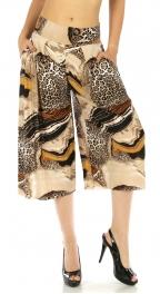 wholesale A02 Abstract capri palazzo pants Leopard