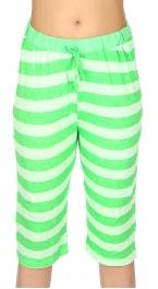 wholesale N13 Cotton capri pajama pants Green/Stripe
