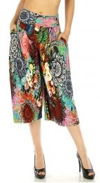 wholesale C01 Abstract capri palazzo pants Multicolor