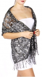 Wholesale I10B Sequins Paisley Scarf BLACK/BLACK