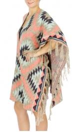 Wholesale S07C Tribal printed fringed hem Cape