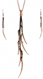 Wholesale WA00 Metal horns & leather necklace set COP