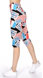 Wholesale O05D Multi flag print softbrush capri leggings