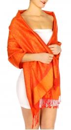 wholesale D33 Whole Jacquard Pashmina 39 Orange