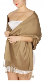 wholesale D36 Solid HD Wedding Pashmina 19 Dark Beige