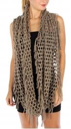Wholesale S81 Open knit tasseled infinity scarf Black
