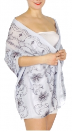 Wholesale H39A Flowers & wave embroidery scarf BL