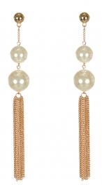 Wholesale WA00 Faux pearls & metal tassel earrings GCR